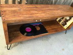 Old fart (antique walnut color ) record / vinyl holder / entertainment center…