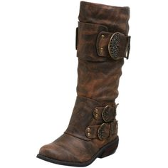 79db31e6107 Endless.com  Two Lips Women s Warrior Mid Calf Leather Buckle Boot   Categories -
