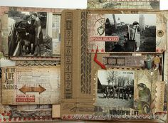 Tim Holtz Family Folio Tutorial, pg. 5 ~ The vintage style stamps are amazingly detailed.
