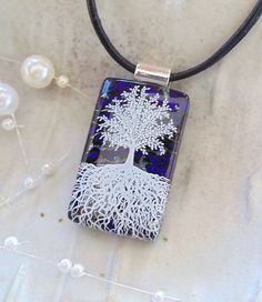 Dichroic Glass Pendant, Tree of Life, Glass Jewelry, Purple, Necklace Included, A5