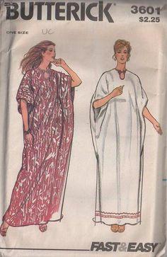 MOMSPatterns Vintage Sewing Patterns - Butterick 3601 Vintage 70's Sewing Pattern HIPPIE GODDESS Peekaboo Loop Neck Winged Square Hostess Caftan, Muu Muu Maxi Gown