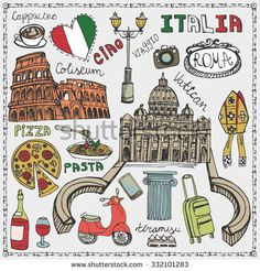 Have you ever walked around Rome, Italy, at night? Vibrant pictures of Rome, Italy show the exciting but calm atmosphere that pulsates all over Rome tourist attractions. Rome Travel, Italy Travel, Greece Travel, Doodle Art, Voyage Rome, Travel Doodles, Travel Icon, Travel Tips, Travel Illustration