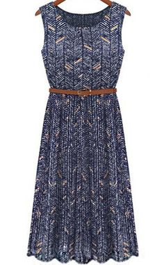 Royal Blue Sleeveless Striped Pleated Maxi Dress 25.67 Fasion 26c9ae7267