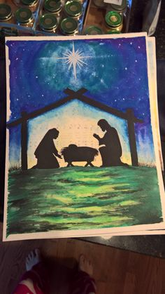 Nativity silhouette over Oh Holy Night transfer Nativity Silhouette, Mixed Media Artwork, Holy Night, Holi, Crafts, Painting, Manualidades, Paintings, Draw