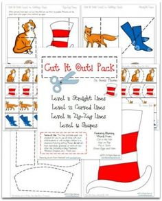 Suess Themed Cut it Out! Pack with FOUR levels of cutting practice to strengthen fine motor skills by This Reading Mama Rhyming Worksheet, Rhyming Games, Kindergarten Worksheets, Phonics, Dr Seuss Activities, Classroom Activities, Book Activities, Preschool Learning, Cutting Activities