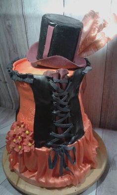 Corset cake with flowers