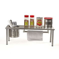 Upgrade your kitchen space with the use of this Mind Reader Shelf Countertop Spice Rack Kitchen Rack Storage Organizer in Silver. Kitchen Countertop Storage, Countertop Spice Rack, Kitchen Rack, Kitchen Countertops, Kitchen Shelves, Kitchen Cabinets, Spice Rack Holder, Wall Mounted Spice Rack, Magnetic Spice Racks