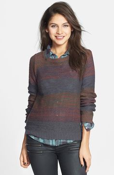 I like that sweater of long sleeves look: BP. Stripe Marled Cotton Blend Pullover (Juniors) available at #Nordstrom