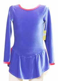 Consignment Periwinkle Blue LS Velvet Dress Coral Trim Skirt
