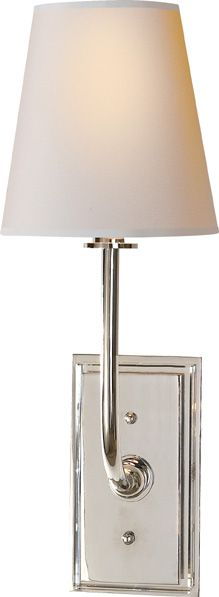 """$294 Height: 16 1/2""""  Width: 6""""  Extension: 7 1/2""""  Backplate: 4"""" x 7 1/4"""" Rectangle --   1/4"""" thickPNPlateover a3/4"""" thick Crystal Plate  Shade: 4"""" x 6"""" x 6 1/2"""" Oval  Wattage: 1 - 60 Watt Type B  Socket: Candelabra"""