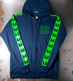 Seattle Seahawk Sweatshirt Hooded Zip Up navy color with neon green striped arms seahawks colors hoodie with 12Similar to Seahawks Jerseys on Etsy, $40.00