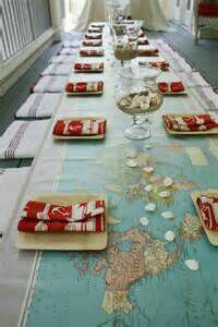 Map & seashell table runner