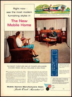 """1960 Vintage Ad """"The New Mobile Home"""" MHMA, Trailer Coach Assoc. of the West TCA"""