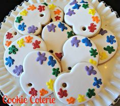 Paint Palette Artist Party Decorated Cookie Favors One Dozen on Etsy, $26.00
