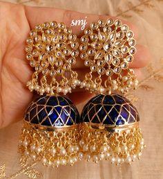 Indian Jewelry Earrings, Indian Jewelry Sets, Fancy Jewellery, Jewelry Design Earrings, Gold Earrings Designs, Stylish Jewelry, Jhumka Designs, Bridal Bangles, Wedding Jewelry