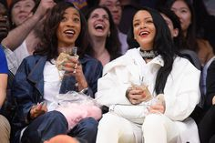 Rihanna and BFF Melissa Forde laugh it up at a Lakers game on Sunday.