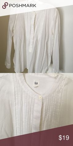 GAP white button down blouse Really nice GAP button down. Detailed neck, long sleeve, just a little big on me GAP Tops Blouses