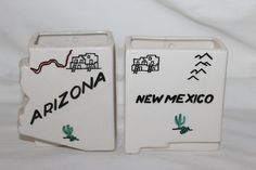 2 RARE 1950 VINTAGE MILFORD POTTERY STATE ARIZONA NEW MEXICO PLANTER WALL POCKET in Collectibles, Decorative Collectibles, Wall Hangings, Mirrors   eBay