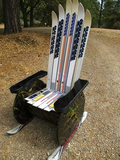 A chair made with old ski's and an electric spool.