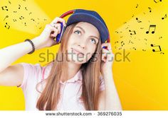Happy teenager girl uses a headphones. Fashion student. Shopping. Listen to music. No cord