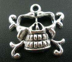 Silver Halloween Skull Charm Pendant  23x22mm 5pcs- Ships Immediately from California - SC371
