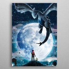 Poster made out of metal. Ash Ketchum and his Pikachu have an encounter with the legendary Pokemon Lugia. Pokemon Lugia, Pikachu, A4 Poster, Poster Prints, Posters, Anime Illustration, Cg Artwork, Canvas Prints, Art Prints