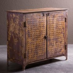 rusty industrial tool cabinet.