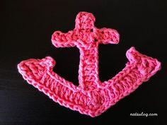 Let's make a bigger anchor with crochet :) – Natsulog Crochet Earrings Pattern, Crochet Necklace, Crochet Patterns, Crochet Appliques, Crochet Anchor, Crochet Hooks, Baby Girl Toys, Toys For Girls, Half Double Crochet