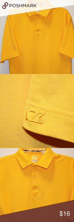 Cutter & Buck Men's Polo Shirt Size Large Yellow This is a high quality Cutter and Buck Polo Shirt.  Deep Yellow.  Size Large Men's.  Short Sleeve.  Excellent Condition.  Would make a fantastic golf shirt. Cutter & Buck Shirts Polos