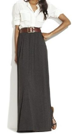 Long maxi skirt with white shirt, relaxed, but elegant