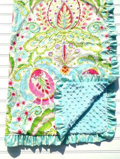 Minky Blanket in Kumari Garden Fabric with Ruffle Trim. $50.00, via Etsy.