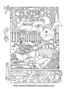 Easter Hidden Picture Puzzle and Coloring Page by Liz Ball. #kids #children #Easter
