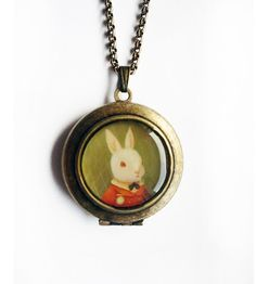 Alice in Wonderland Locket : The White Rabbit @Sarah Granville ths is for you.