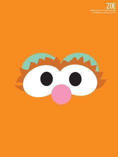 Sesame Street Zoe Illustration Poster via design. bake. run.