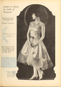 "1926 Margaret Livingston wears a summer frock for ""Screenland""."