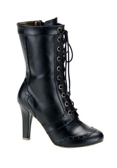 What's Ur Style Women's 10 Gear Eyelet Calf Boot