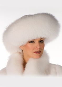Rosamaria G Frangini | High Fur&Coats | LuxeBeALady | White Fox and Mink Fur Hat-Large Brim Fur Hat |