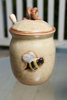 Honey pot made from ceramic pottery