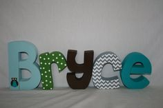 Baby boy name letters dwell studio owl by PaintedPoshDesigns, $57.50