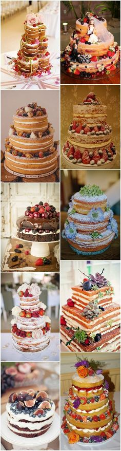 naked wedding cakes, no icing and full of fruit and flowers