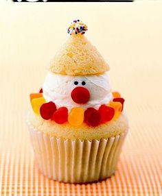 "Clown Cupcakes--Includes links to cupcake and icing recipes as well as the instructions on how to make the ""clown""."