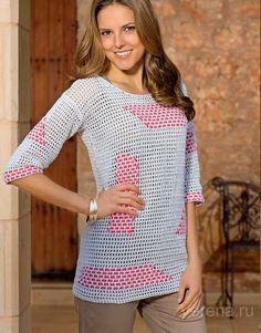 Пуловер с филейным узором - схема вязания крючком. Вяжем Пуловеры на Verena.ru