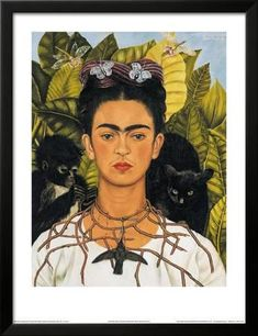 Self-Portrait with Thorn Necklace and Hummingbird, c.1940 Framed Art Print by Frida Kahlo at Art.com