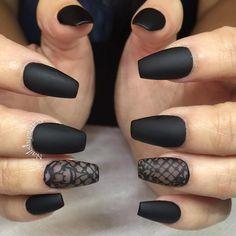 Matte Black Nails - I like the one like frosted glass. #nail #nailart by @nailsbymztina