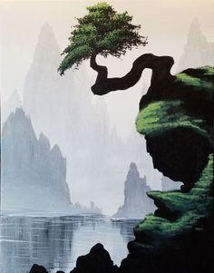 Bonsai Cliffs - Paint Nite Painting