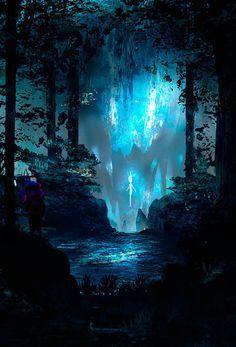 New fantasy art forest moonlight ideas Fantasy Art Landscapes, Fantasy Landscape, Fantasy Artwork, Landscape Art, Fantasy Places, Fantasy World, Fantasy Kunst, Fantasy Inspiration, Anime Scenery