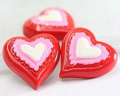Red Resin Heart Cabochons, Red Hearts, Resin Flat Backs, Kawaii Cabochons, Heart Flat Backs, Heart Shaped Cabochons, Love Cabochons, Cameos