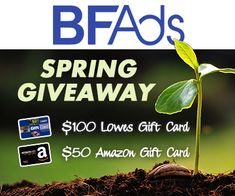 The first place prize for this giveaway is a $100 gift card to Lowe's Home Improvement stores, so you can get started on those spring projects you've been thinking about, and second prize is a $50 Amazon gift card!