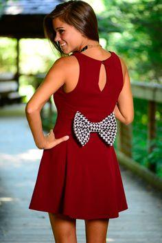 Bear-y Adorable Dress, Crimson