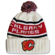 5b8209f3553 Men s Calgary Flames Red Jacket Cream Pillow Lined - Cuffed Knit Hat with  Pom